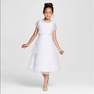 White communion, flower girl, fancy party dress
